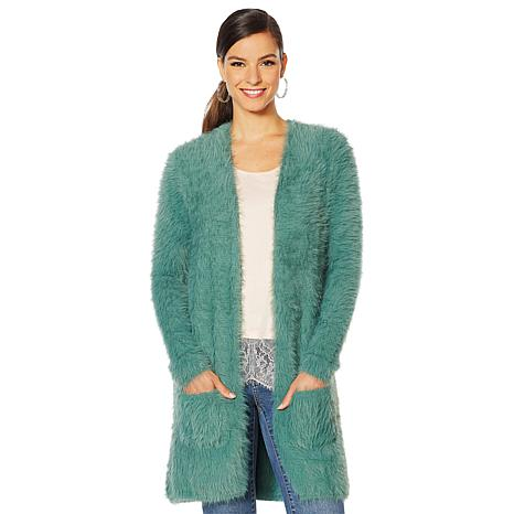 Colleen Lopez Fuzzy Cardigan Sweater with Pockets