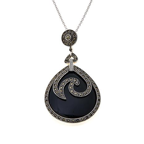 black onyx x jo round marcasite big product pendant sterling bangles silver and with