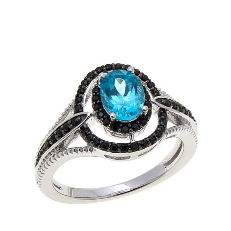 Colleen Lopez Gemstone and Black Spinel Oval Ring