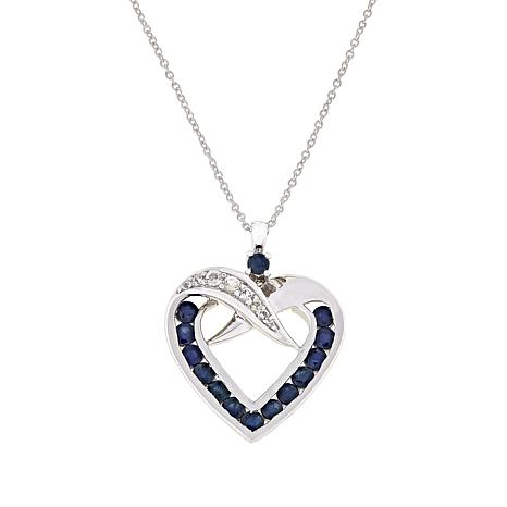 Colleen Lopez Gemstone and White Topaz Heart Pendant with Chain