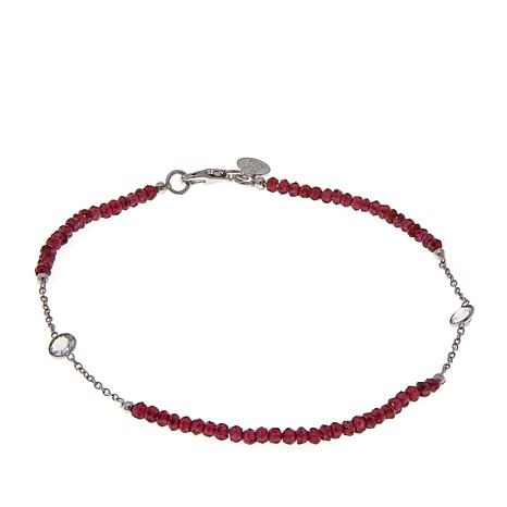 Colleen Lopez Gemstone Bead and White Topaz Anklet