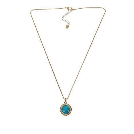 Colleen Lopez Gemstone Cabochon and White Topaz Pendant with Chain