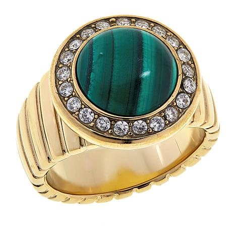 Colleen Lopez Gemstone Cabochon and White Topaz Ring