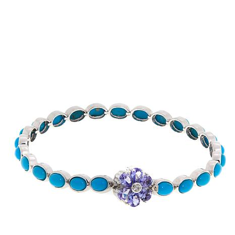 "Colleen Lopez Gemstone Flower and Turquoise 7-3/4"" Bracelet"