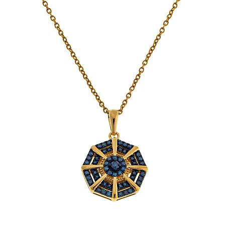 Colleen Lopez Gold-Plated .33ctw Colored Diamond Pendant with Chain