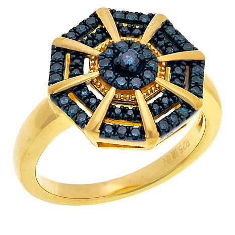 Colleen Lopez Gold-Plated .33ctw Colored Diamond Ring