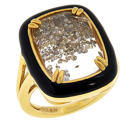 Colleen Lopez Gold-Plated Colored Diamond Shaker Ring