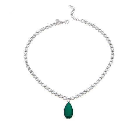 "Colleen Lopez Green Agate and White Topaz 18"" Necklace"