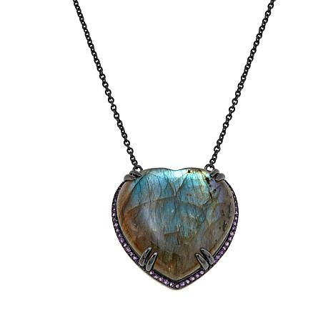 "Colleen Lopez Heart-Shaped Labradorite and Amethyst 18"" Necklace"