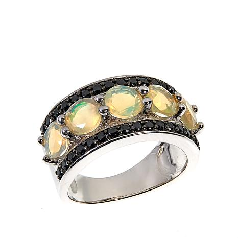 Colleen Lopez Honey-Colored Ethiopian Opal and Gemstone Band Ring