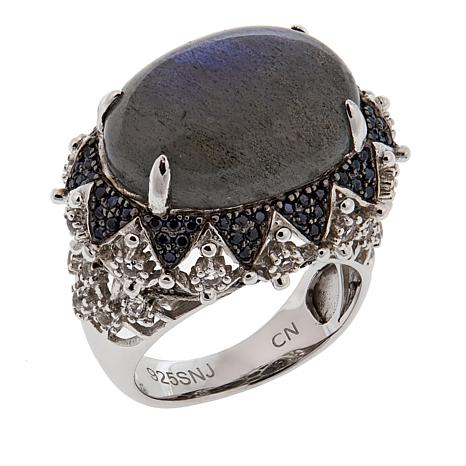 Colleen Lopez Labradorite, Black Spinel and White Topaz Ring