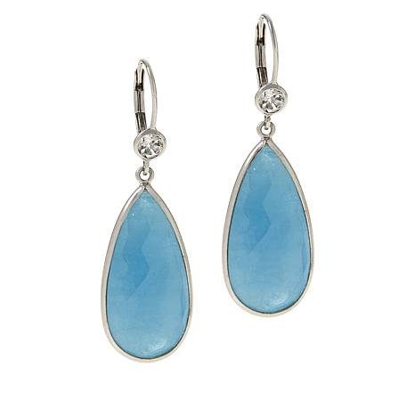 Colleen Lopez Milky Aquamarine and White Topaz Leverback Earrings