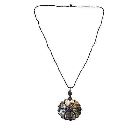 Colleen Lopez Mother-of-Pearl and Gemstone Flower Necklace