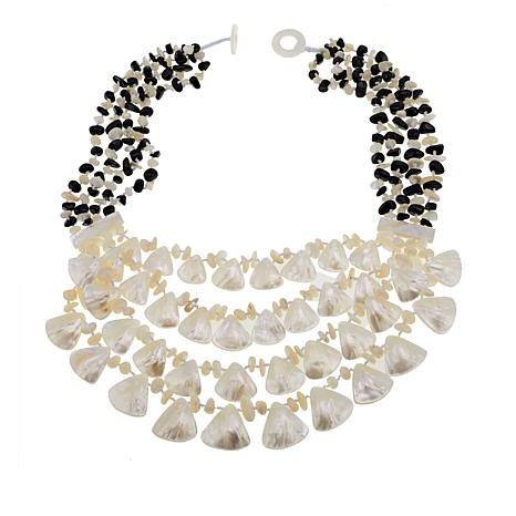 """Colleen Lopez Mother-of-Pearl and Onyx 22"""" Multi-Strand Necklace"""
