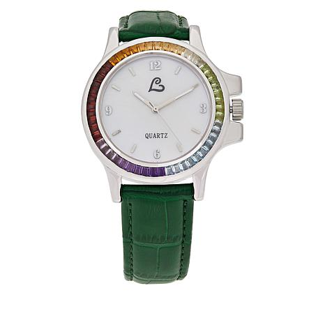Colleen Lopez Multi-Gemstone Mother-of-Pearl Dial Leather Strap Watch