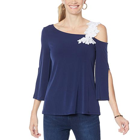 Colleen Lopez One-Shoulder Top with Applique