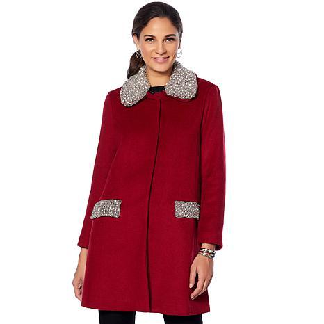 Colleen Lopez Opulence Embellished Wool Coat