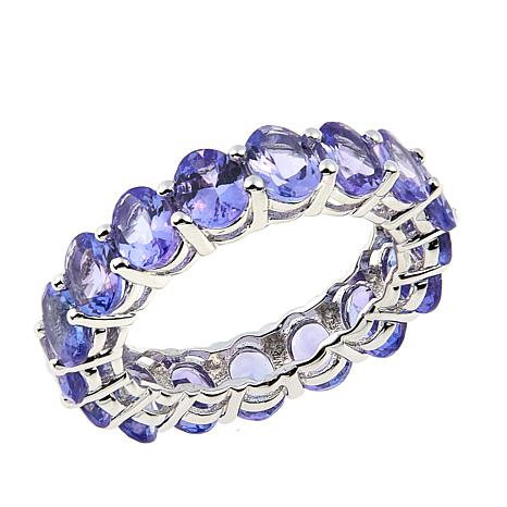 Colleen Lopez Oval Tanzanite Sterling Silver Eternity Band Ring