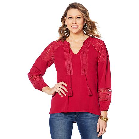 Colleen Lopez Peasant Blouse with Crochet Eyelet Detail