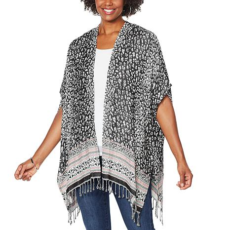 Colleen Lopez Printed Jacquard Ruana with Fringe Detail