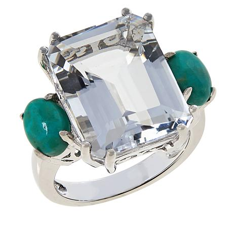 Colleen Lopez Sterling Silver Arkansas Quartz and Turquoise Ring
