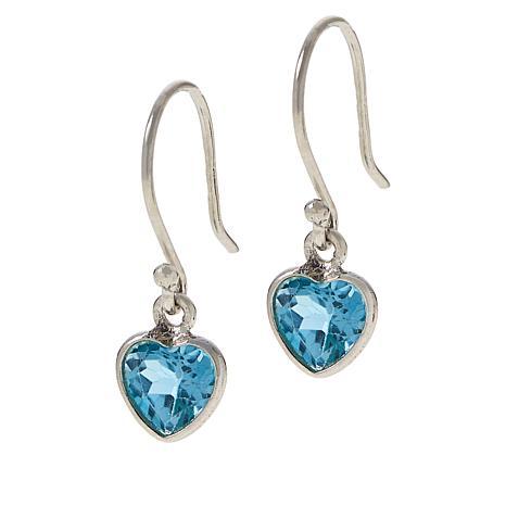 Colleen Lopez Sterling Silver Blue Topaz Heart Drop Earrings