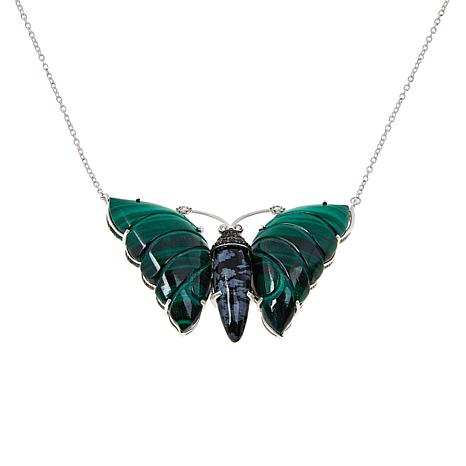 Colleen Lopez Sterling Silver Carved Gemstone Butterfly Necklace