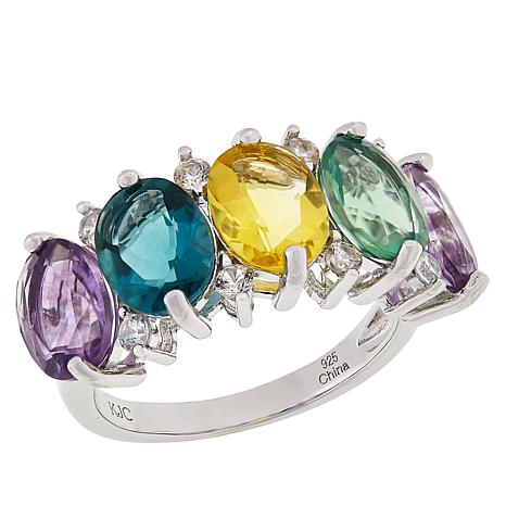 "Colleen Lopez Sterling Silver ""Colors of Fluorite"" Ring"