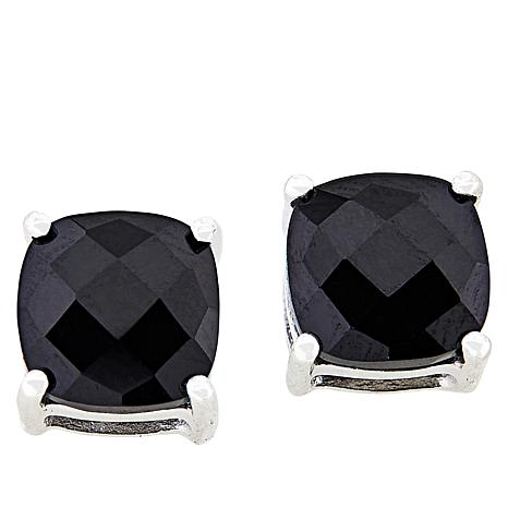 Colleen Lopez Sterling Silver Cushion Cut Black Spinel Stud Earrings