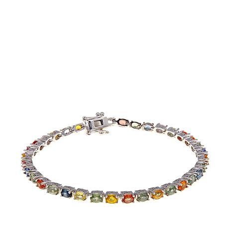 Colleen Lopez Sterling Silver Multicolor Oval Sapphire Tennis Bracelet