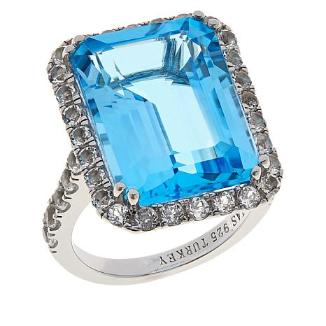 Colleen Lopez Sterling Silver Sky Blue Topaz and White Topaz Ring