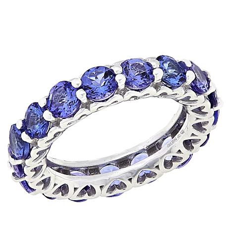 Colleen Lopez Sterling Silver Tanzanite Eternity Band Ring