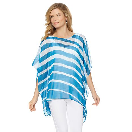 Colleen Lopez Striped Poncho Top