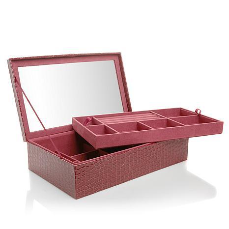 Colleen's Prestige™ 2-Level Croco Pin/Ring Jewelry Box
