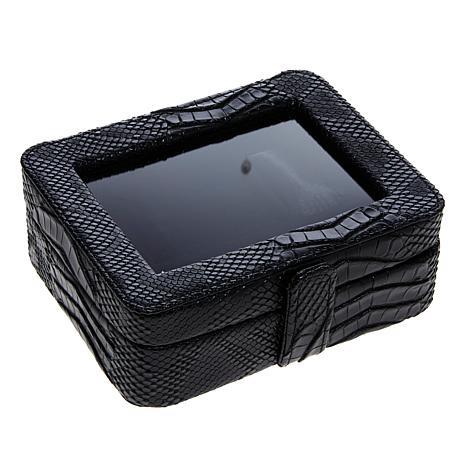 Colleen's Prestige™ Croco-Embossed Black Travel Jewelry Box