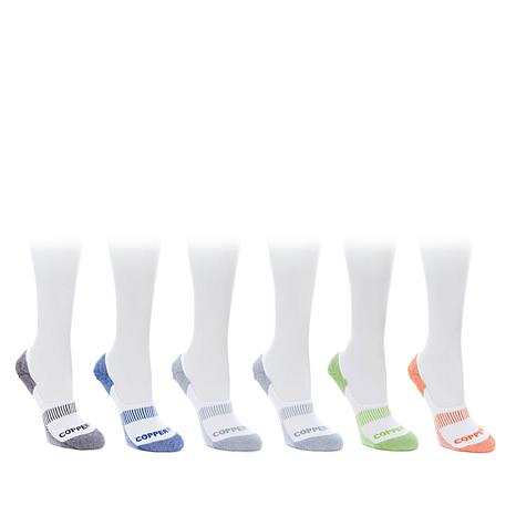 Copper Fit 6-pair Unisex Copper Infused No-Show Socks