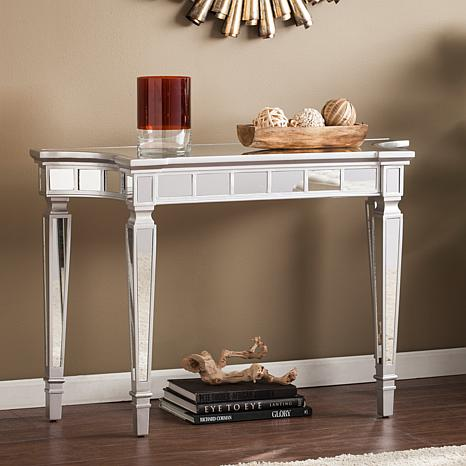 Coronado Glam Mirrored Console Table - Matte Silver