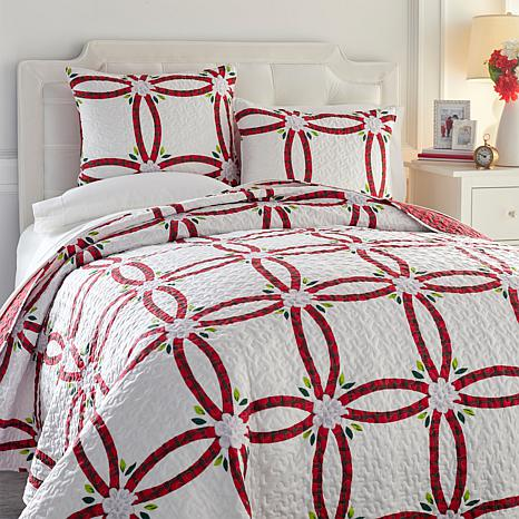 Cottage Collection Poinsettia Wedding Ring 3-piece Quilt Set