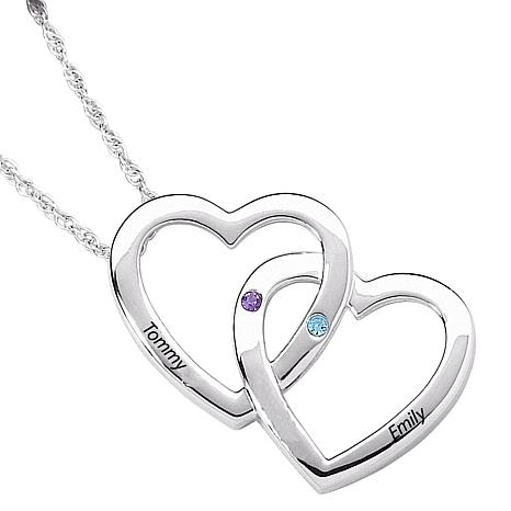 Couple's Name and Birthstone Heart Pendant
