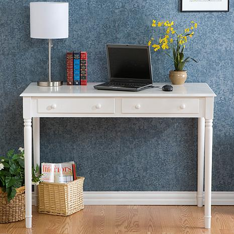 Crisp-White, 2-Drawer Writing Desk