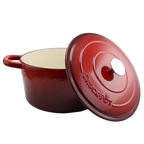 Crock Pot Zesty Flavors 7 Quart Round Cast Iron Dutch Oven in Scarl...