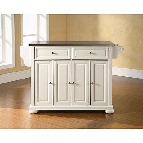 Crosley Alexandria Stainless Steel Top Kitchen Island - White