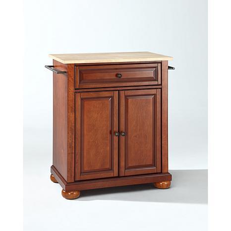 Crosley Alexandria Natural Wood Top Portable Kitchen Island Classic Cherry Finish 7743725 Hsn