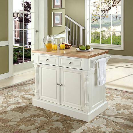 Crosley Butcher Block Top Kitchen Island - White
