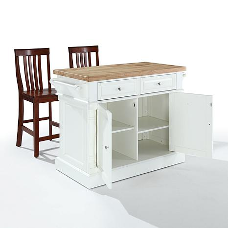 crosley butcher block top kitchen island wbarstools