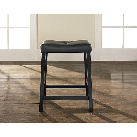 Crosley Furniture Upholstered Saddle Seat 2pc 24 Bar Stool Set Black