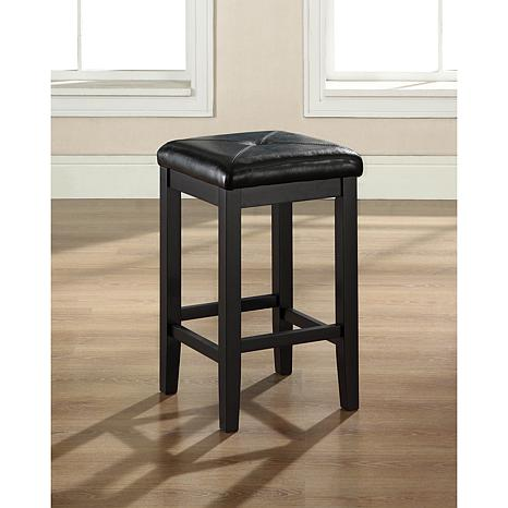 "Crosley Furniture Upholstered Square Seat 2pc 24"" Bar Stool Set-Black"