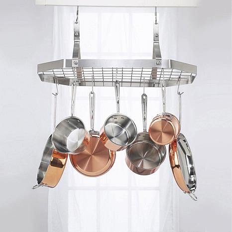 Cuisinart octagonal hanging cookware rack 7736111 hsn for Suspension ustensiles cuisine