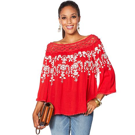 acffbb3c294 Curations Bohemian Romance Embroidered Lace Blouse - Bold Colors - 1539189  | HSN