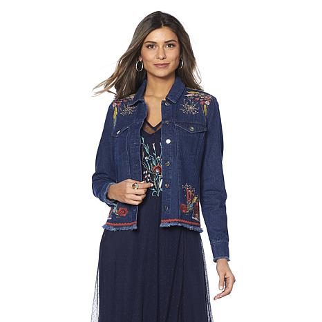Curations Embroidered Denim Jacket